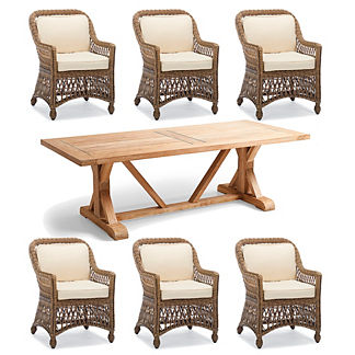 Hampton Wash Teak 7-pc. Dining Set in Driftwood Finish