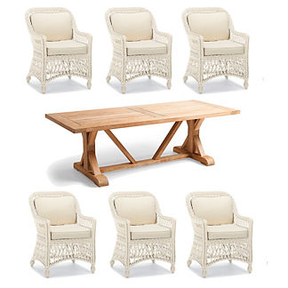 Hampton Wash Teak 7-pc. Dining Set in Ivory Finish