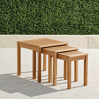 Teak Nesting Tables, Set of Three in Natural Finish