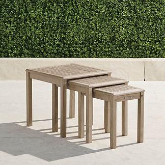 Cassara Set of Three Teak Nesting Tables in Weathered Finish