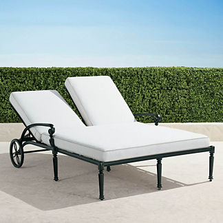 Carlisle Double Chaise Lounge with Cushions in Onyx Finish, Special Order