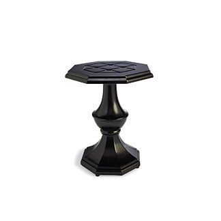Grayson Pedestal Side Table in Black Finish