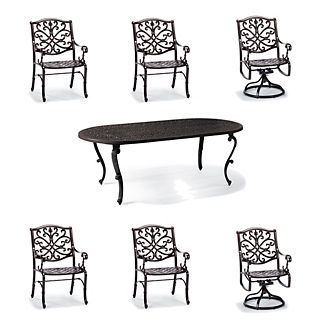 Orleans 7-pc. Oval Dining Set in Chocolate Finish