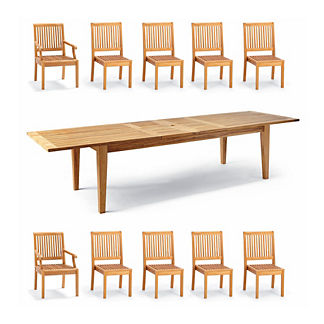 Cassara 11-pc. Estate Extension Dining Set in Natural Finish