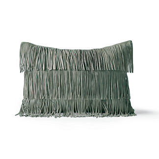 Suede Fringe Lumbar Decorative Pillow