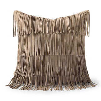 Suede Fringe Decorative Pillow