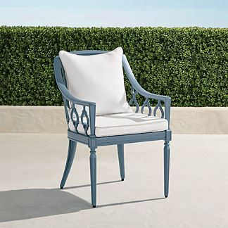 Avery Dining Arm Chair with Cushions in Moonlight Blue Finish, Special Order