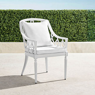 Avery Dining Arm Chair with Cushions in White Finish, Special Order