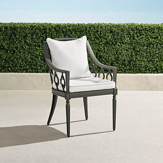 Avery Dining Arm Chair with Cushions in Slate Finish, Special Order
