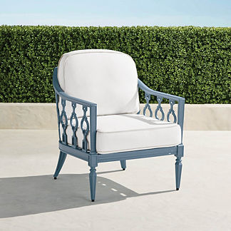 Avery Lounge Chair with Cushions in Moonlight Blue Finish, Special Order