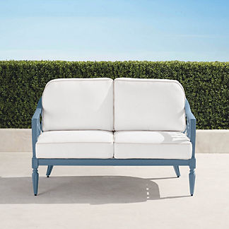Avery Loveseat with Cushions in Moonlight Blue Finish