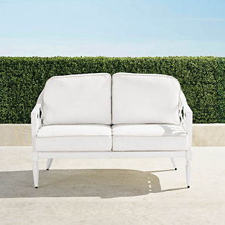 Avery Loveseat with Cushions in White Finish, Special Order