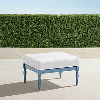 Avery Ottoman with Cushion in Moonlight Blue Finish, Special Order