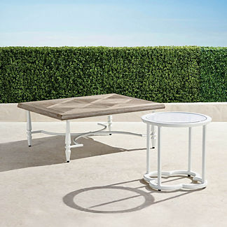 Avery Teak Top Coffee Table in White Finish