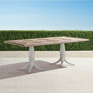 Avery Teak Top Table in White Finish