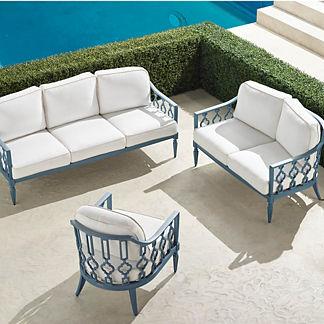 Avery 3-pc. Sofa Set in Moonlight Blue Finish
