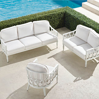 Avery 3-pc. Sofa Set in White Finish