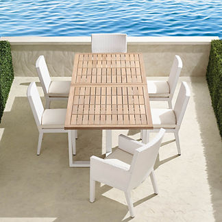 Pierce 7-pc. Expandable Teak Dining Set in White Finish