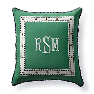 Monteverde Monogram Jade Outdoor Pillow
