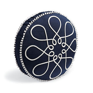 Looped Tambourine Indigo Outdoor Pillow
