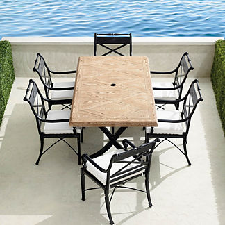 Carlisle 7-pc. Faux Wood Dining Set in Onyx Finish
