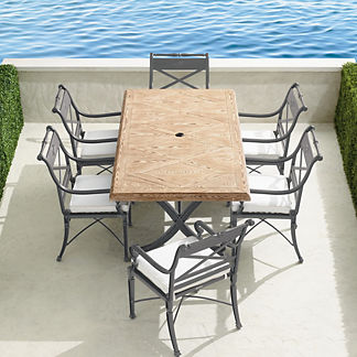 Carlisle 7-pc. Faux Wood Dining Set in Slate Finish