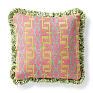 Bayside Trellis Peony Indoor/Outdoor Pillow
