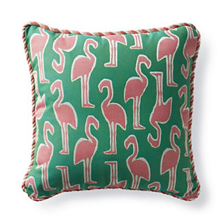 Flamingo Coast Jade Outdoor Pillow