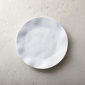 Round Ruffle Melamine Dinner Plates, Set of Four