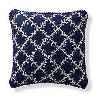 Coral Lattice Indigo Outdoor Pillow