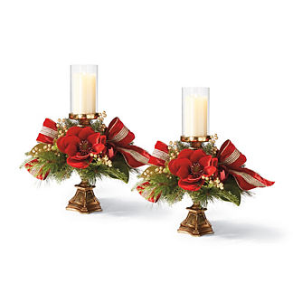 Jingle All The Way Magnolia Candle Holders, Set of Two