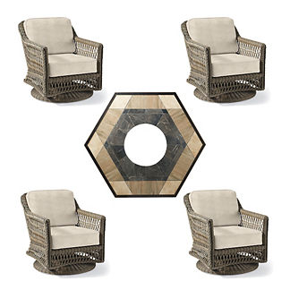 Hampton Swivel 5-pc. Fire Chat Set with Nova Fire Table