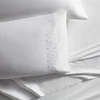 Resort Flourish Egyptian Cotton Sateen Pillowcases, Set of Two