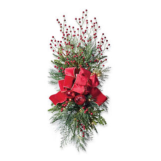 Christmas Cheer Cordless Staircase/Door Swag with Bow, Set of Two