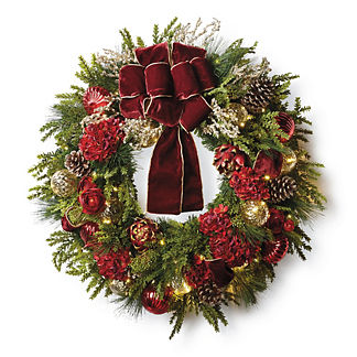 Burgundy and Gold Cordless Wreath