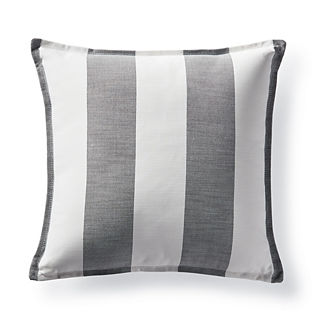 Luxe Linen Stripe Charcoal Outdoor Pillow by Martyn Lawrence Bullard