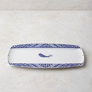 Blue Feather Serving Platter