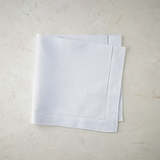 Classic Hemstitch Solid Dinner Napkins, Set of Six