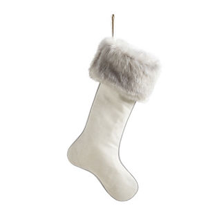 Mixed Metals White Stocking with Gray Fur