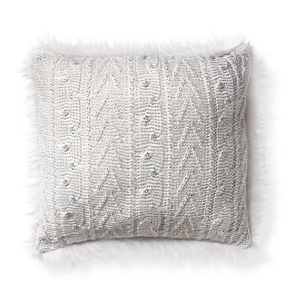 Metallic Knit Pillow with White Fur