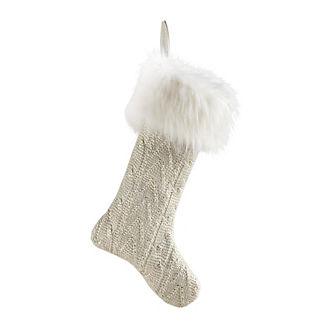 Metallic Knit Stocking with White Fur