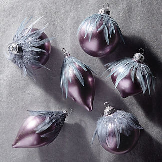 Violet Gray Feather Decorated Accent Kit, Set of Six