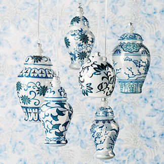 French Blue and Linen Traditional Ming Glass Ginger Jars, Set of Six