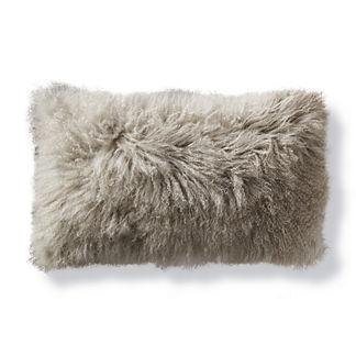 Mongolian Fur Lumbar Decorative Pillow in Silver
