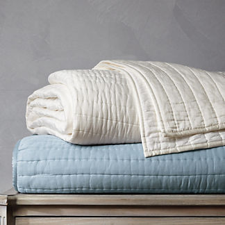 Channeled Cotton Silk Coverlet