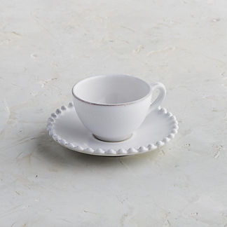 Costa Nova Pearl Coffee Cups & Saucers in White, Set of Six
