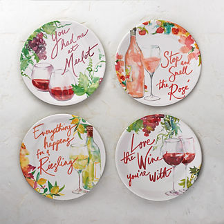 Assorted Wine Sayings Melamine Appetizer Plates, Set of Four