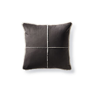 Windowpane Faux Shearling Pillow in Graphite