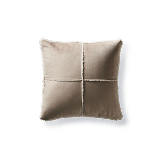 Windowpane Faux Shearling Pillow in Khaki