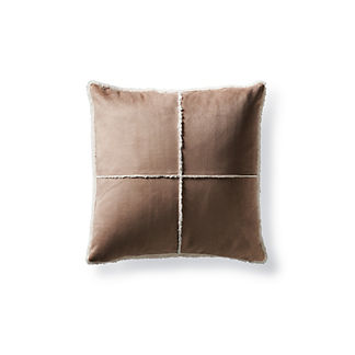Windowpane Faux Shearling Pillow in Sable